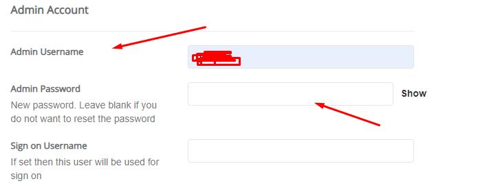 admin user password